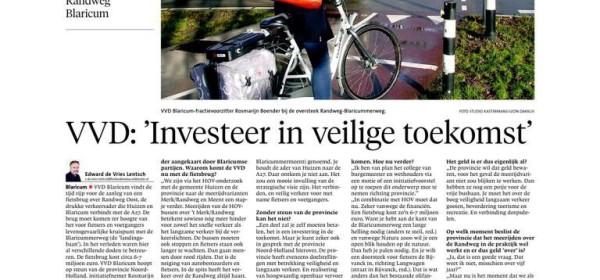 VVD Blaricum pleit voor fietsbrug (G&E 4-2-15)
